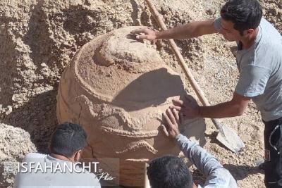خمره ساسانی در مبارکه کشف شد